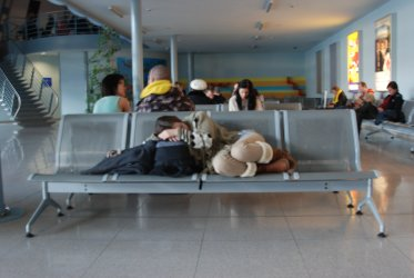 Sleeping girl at the airport